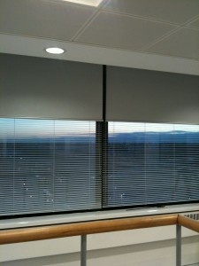 Large roller blinds in office